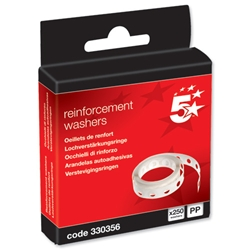 5 Star Office Vinyl Reinforcement Washers - Box 250
