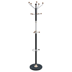 Hat and Coat Stand Chrome Tubular Steel with Umbrella Holder 8 Pegs 5 Hooks
