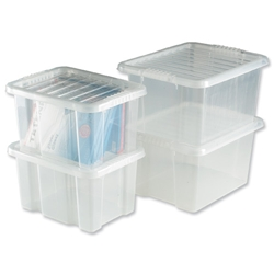 Trexus Quick Shelf System Storage Container Box Plastic with Lid Ref 012450/4 - Pack 4 - Item image