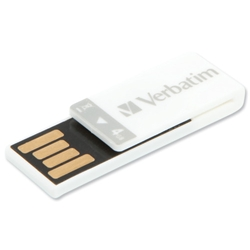 Verbatim Clip-it USB Flash Drive 4GB White Ref 43900