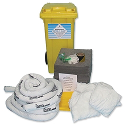 Fosse Maintenance Spill Kit Water or Oil Gloves Goggles Pads Socks Bag Wheeled Bin 240 Litre Ref M-240-WB