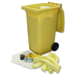 Fosse Chemical Spill Kit with Tape Gloves Goggles Pads Socks Bag and Wheeled Bin 240 Litre Ref U-240-WB