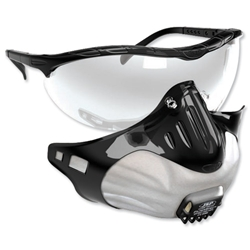 JSP FilterSpec FMP2 Safety Glasses Mask Black 3 Valved Filters Anti-Mist Lens Clear Ref ASG124-121-100