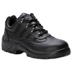 Portwest S1P Trainer Shoes Steel Midsole Buffalo Leather Chemical-resist Black Size 11 Ref FW25SIZE11