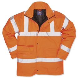 Portwest Hi-Visibility Railtrack Jacket Polyester Resistant-finish Medium Orange Ref RT60MED