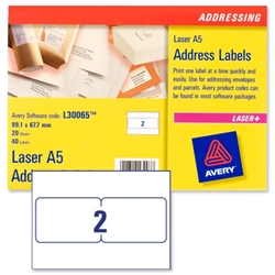 Avery L30065 A5 Parcelling Labels 2-label sheets 99.1x67.7mm Ref L30065-20 - 20 Sheets - Item image