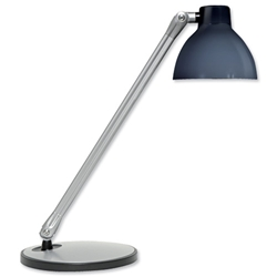 Unilux Fluorescent Desk Lamp Tilting Arm and Head Translucent Shade 12W Black Ref 400012982