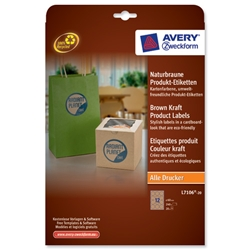 Avery Product Labels 12 per Sheet 60mm Diameter Brown Kraft Circular Ref L7106-20.UK - 240 labels