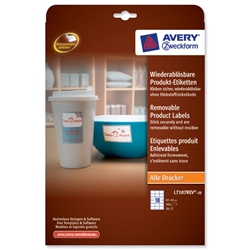 Avery Product Labels Removable 18 per Sheet 62x42mm White Rectangular Ref L7107REV-20.UK - 360 labels