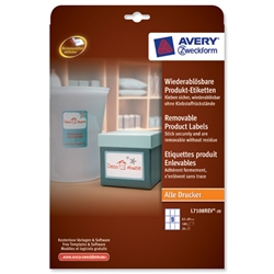 Avery Product Labels Removable 9 per Sheet 62x89mm White Rectangular Ref L7108REV-20.UK - 180 labels