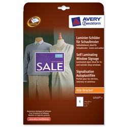 Avery Wall Sign Self Laminating 1 per Sheet 170x257mm Self Adhesive White Ref L7117-5.UK - 5 labels