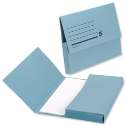 5 Star Document Wallet Half Flap 285gsm Capacity 32mm Foolscap Blue [Pack 50]