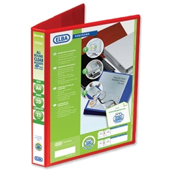 Elba Presentation Ring Binder PVC 2 D-Ring 25mm Capacity A4 Red Ref 400008676 - Pack 6