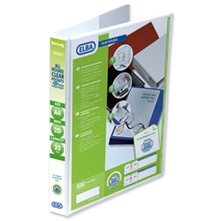 Elba Presentation Ring Binder PVC 2 D-Ring 25mm Capacity A4 White Ref 400008413 - Pack 6