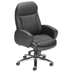 Influx S6 Executive Armchair Leather-look Seat W520xD475xH470-530mm Black Ref 10927-01D - Item image