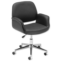 Influx Benna SoHo Chair Leather-look Seat W440xD480xH440-540mm Black Ref 10850-02 - Item image