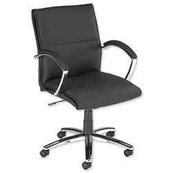 Influx S3 Manager Armchair Leather-look Seat W530xD480xH440-560mm Black Ref 10420-02 - Item image