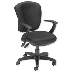 Influx Vitalize Task Chair Permanent Contact High Back Seat W500xD450xH430-540mm Black Ref 11192-03Blk - Item image