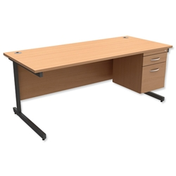 Trexus Contract Desk Rectangular with 2-Drawer Filer Pedestal Graphite Legs W1800xD800xH725mm Beech