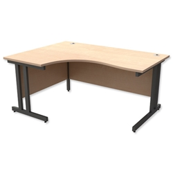 Trexus Contract Plus Cantilever Radial Desk Left Hand Graphite Legs W1600xD1200xH725mm Maple