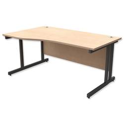 Trexus Contract Plus Cantilever Wave Desk Left Hand Graphite Legs W1600xD800xH725mm Maple - Item image