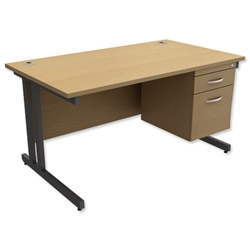 Trexus Contract Plus Cantilever Desk Rectangular 2-Drawer Pedestal Graphite Legs W1400xD800xH725mm Oak