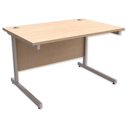 Trexus Contract Desk Rectangular Silver Legs W1200xD800xH725mm Maple