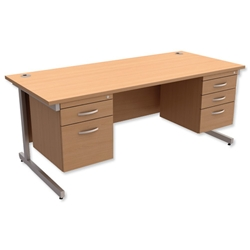 Trexus Contract Desk Rectangular with Double Pedestal Silver Legs W1800xD800xH725mm Beech