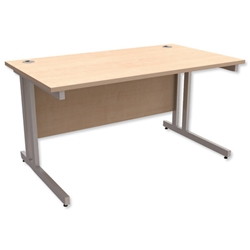 Trexus Contract Plus Cantilever Desk Rectangular Silver Legs W1400xD800xH725mm Maple