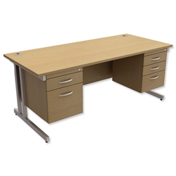 Trexus Contract Plus Cantilever Desk Rectangular Double Pedestal Silver Legs W1800xD800xH725mm Oak