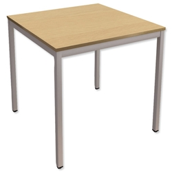 Trexus Square Table with Silver Legs 18mm Top W750xD750xH725mm Oak
