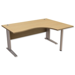 Sonix Premier Cantilever Radial Desk Right Hand W1600xD1200xH720mm Oak