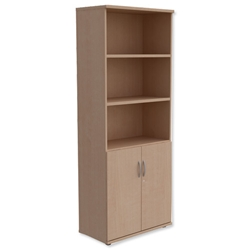 Trexus Tall Cupboard Part-Open with Lockable Bottom Doors W800xD420xH2053mm Maple