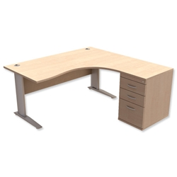 Sonix Premier Radial Desk Right Hand with 600mm Desk-High Pedestal W1600xD1600xH720mm Maple