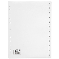 5 Star Office Index Multipunched 120 micron Polypropylene 1-12 A4 White