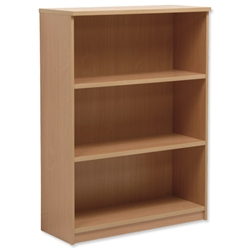 Sonix Medium Bookcase with Adjustable Shelves and Floor-leveller Feet W1000xD400xH1330mm Oak - Item image