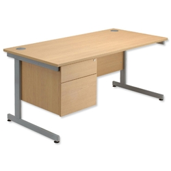 Sonix Contract Desk Rectangular 2-Drawer Filer Pedestal Silver Legs W1400xD800xH720mm Maple Ref 40 - Item image