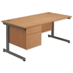 Sonix Contract Desk Rectangular 2-Drawer Filer Pedestal Grey Legs W1200xD800xH720mm Oak Ref 40 - Item image