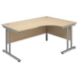 Sonix Style Radial Desk Right Hand Silver Legs W1600xD1180xH720mm Maple Ref 35 - Item image