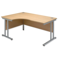 Sonix Style Radial Desk Left Hand Silver Legs W1600xD1180xH720mm Ref 35 Oak - Item image