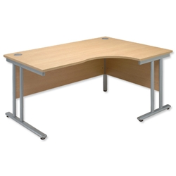 Sonix Style Radial Desk Right Hand Silver Legs W1600xD1180xH720mm Ref 35 Oak