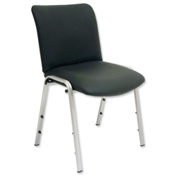 Trexus Yale Side Chair Leather Chrome Legs Back H390mm Seat W480xD470xH480mm Black - Item image