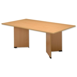 Sonix Boardroom Table Rectangular with Wooden Legs W1800xD1200xH720mm Beech Ref 39 - Item image