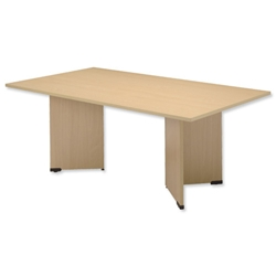 Sonix Boardroom Table Rectangular with Wooden Legs W1800xD1200xH720mm Maple Ref 39 - Item image