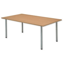 Sonix Boardroom Table Rectangular with Silver Legs W1800xD1200xH720mm Oak Ref 37 - Item image