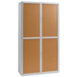 Fast Paper easyOffice Tambour Cupboard Side-opening W1100xD415xH2043mm Grey/Beech Ref EOL11RD - Item image