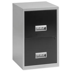 Filing Cabinet Steel Lockable 2 Drawers A4 Silver and Black