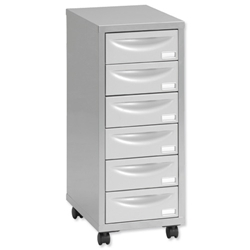 Pierre Henry Multi Drawer Storage Cabinet Steel 6 Drawers W400xD400xH660mm Silver and Grey Ref 095969