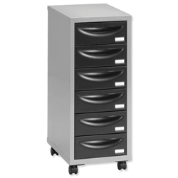 Pierre Henry Multi Drawer Storage Cabinet Steel 6 Drawers W400xD400xH660mm Silver and Black Ref 095992