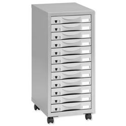 Pierre Henry Multi Drawer Storage Cabinet Steel 12 Drawers W300xD395xH720mm Silver and Grey Ref 095072